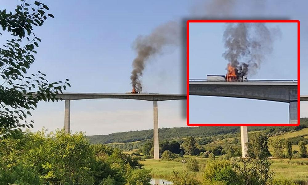 Hatalmas lángokkal ég egy kamion a Balatonál a Kőröshegyi viadukton