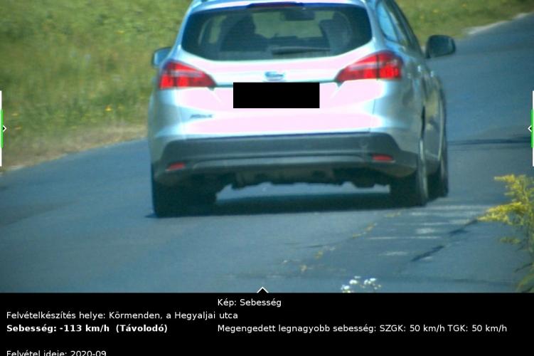 Negatív rekord lakott területen belül – 50 km/h helyett 113 km/h sebességgel közlekedett a sofőr