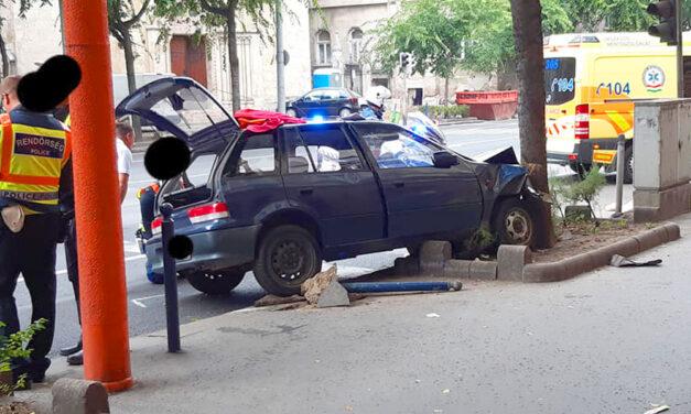 Autós üldözés Budapesten, egy Üllői úti fa állította meg a menekülő autóst