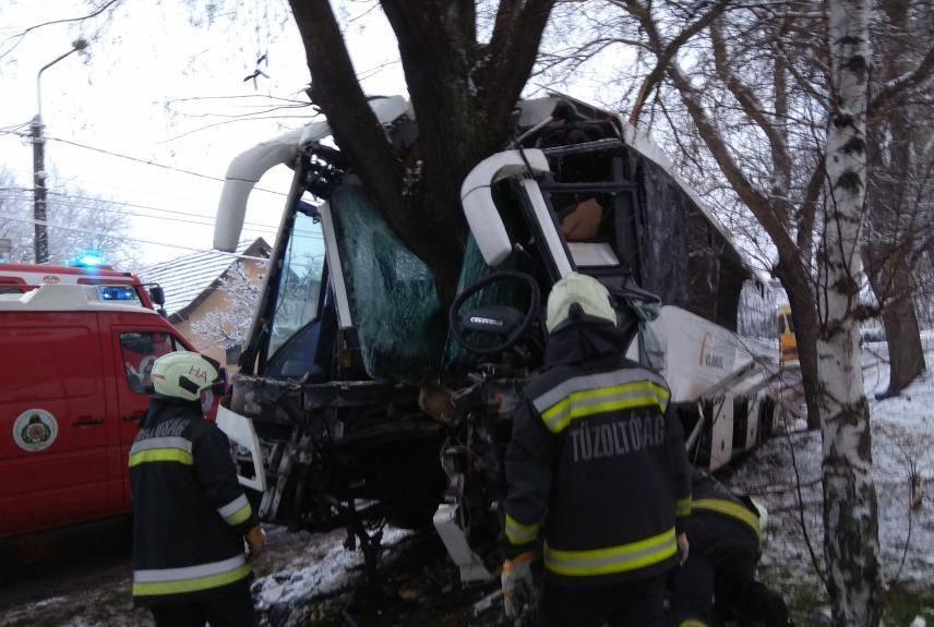 Brutális baleset Heves megyében: fának csapódott egy busz, a sofőr a csattanás közben is utasai életét védte